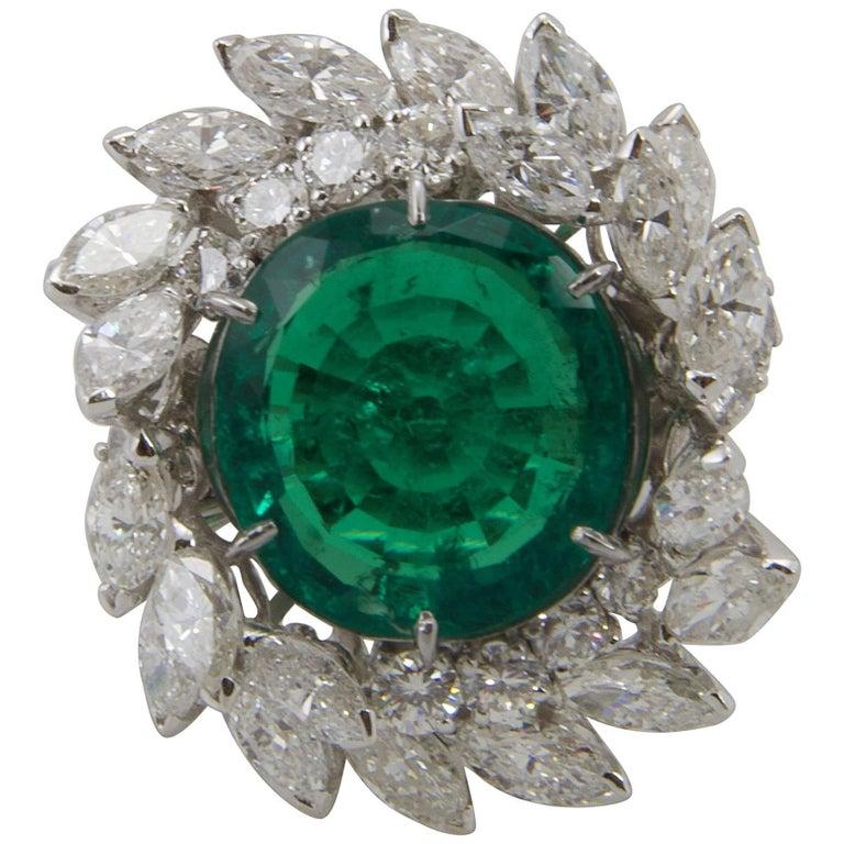 Emerald Diamond Platinum Cocktail Ring