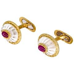 Buccellati Cabochon Ruby, Rock Crystal and Gold Cufflinks