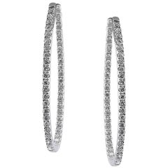 Mark Broumand 2.95 Carat Round Brilliant Cut Diamond Hoop Earrings