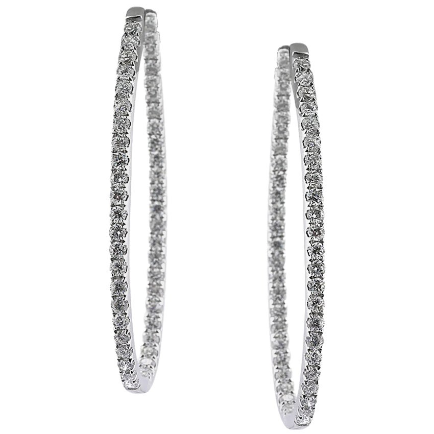 Mark Broumand 2.95 Carat Round Brilliant Cut Diamond Hoop Earrings