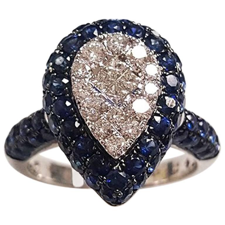 Ladies 18 Karat White Gold Sapphire and Diamonds Ring