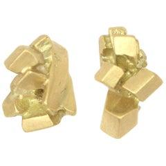 18 Karat Sugar Lump Post Earrings