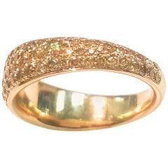 Ladies 14 Karat Yellow Gold and Natural Yellow Diamond Band
