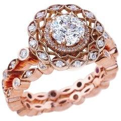 1.00 Carat Round Cut Moissanite Antique Ring in 14 Karat Rose Gold