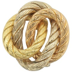 Italian Made Tri-Color Gold Braided Hoops