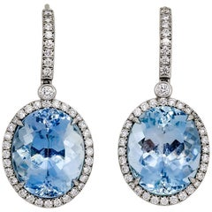 Tiffany & Co. Aquamarine Diamond and Platinum Earrings