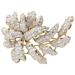 Three Dimensional Diamond and Gold Leaf Brooch
