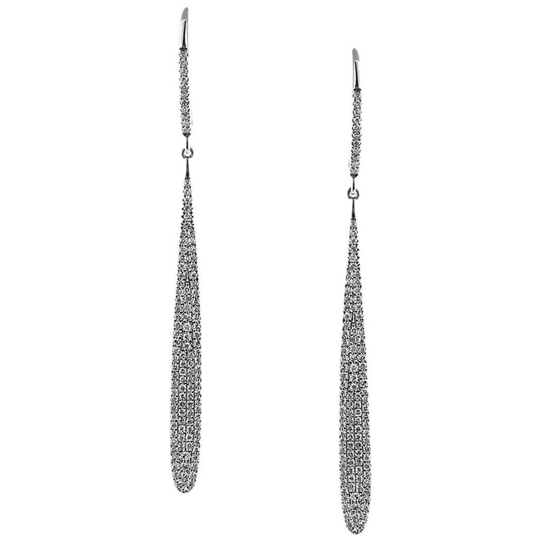 Mark Broumand 0.55 Carat Round Cut Diamond Drop Earrings in 14 Karat White Gold