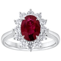 1.50 Carat Oval Ruby and Diamond Floral Engagement Ring