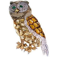 Yellow Topaz Diamond Yellow Gold Owl Brooch