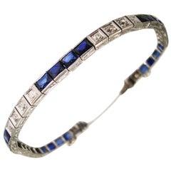 Vintage Diamond and Sapphire Tennis Line Bracelet