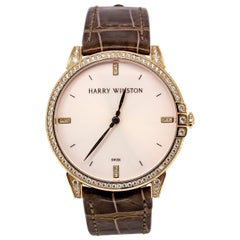 Harry Winston Rose Gold Diamond Midnight Quartz Wristwatch