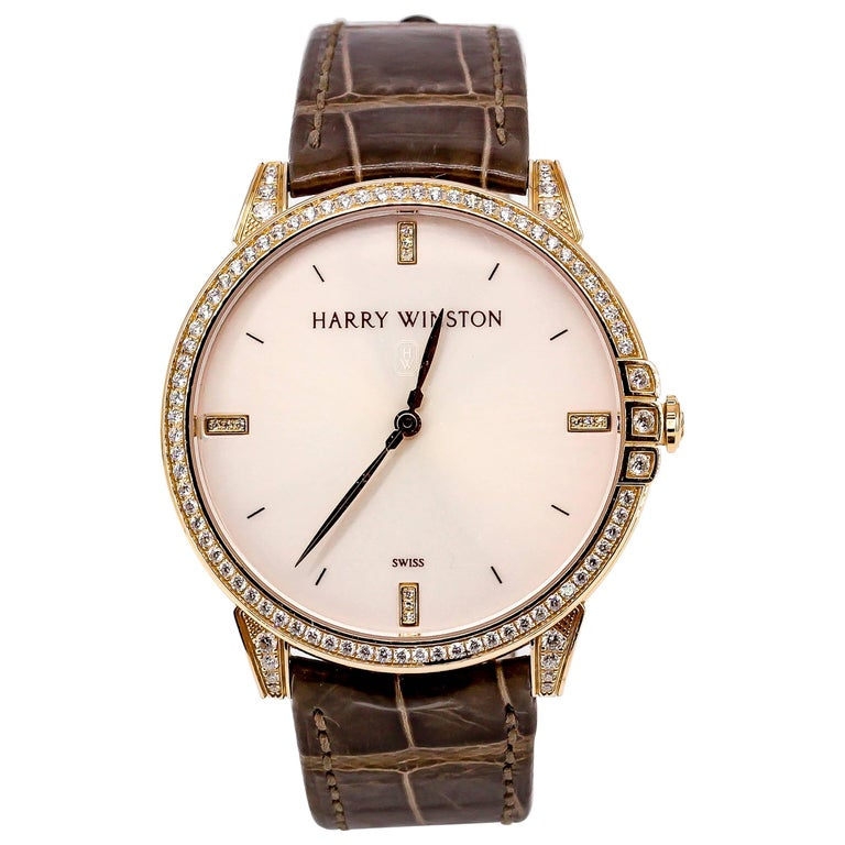 Harry Winston Rose Gold Diamond Midnight Quartz Wristwatch For Sale
