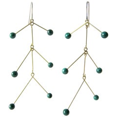 Heidi Abrahamson Malachite Kinetic Mobile Earrings
