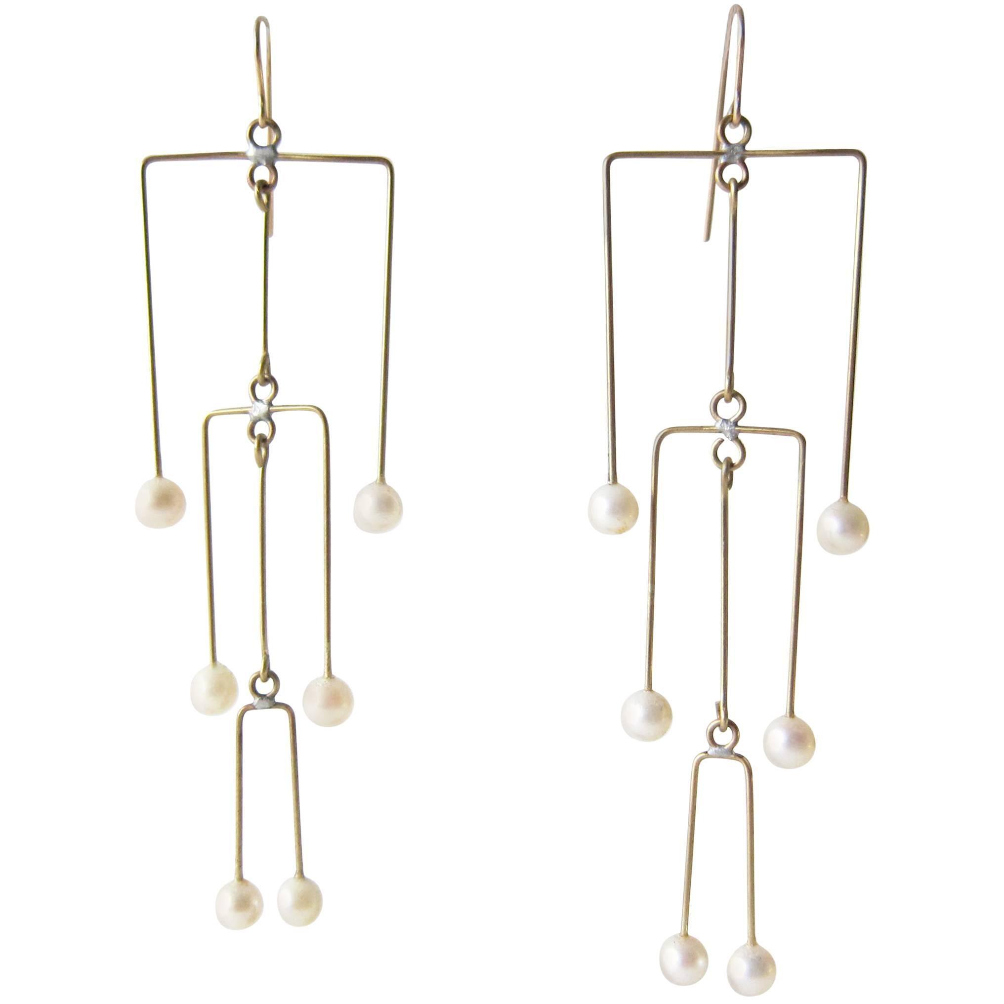 Heidi Abrahamson Pearl Brass Kinetic Mobile Earrings