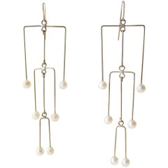 Heidi Abrahamson Pearl Brass Kinetic Mobile Earrings