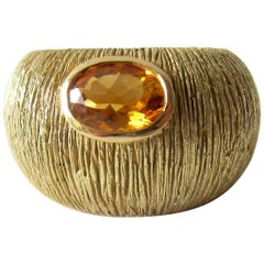 1970s Modernist Gold Citrine Textrured Bombé Ring