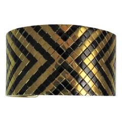 18 Karat Yellow Gold and Black Steel Geometric Design Cuff Bracelet
