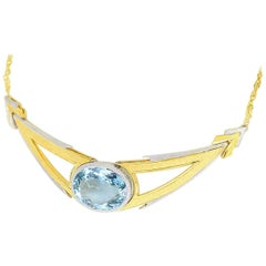Federico Buccellati Aquamarine Necklace 18 Karat Yellow Gold White Gold