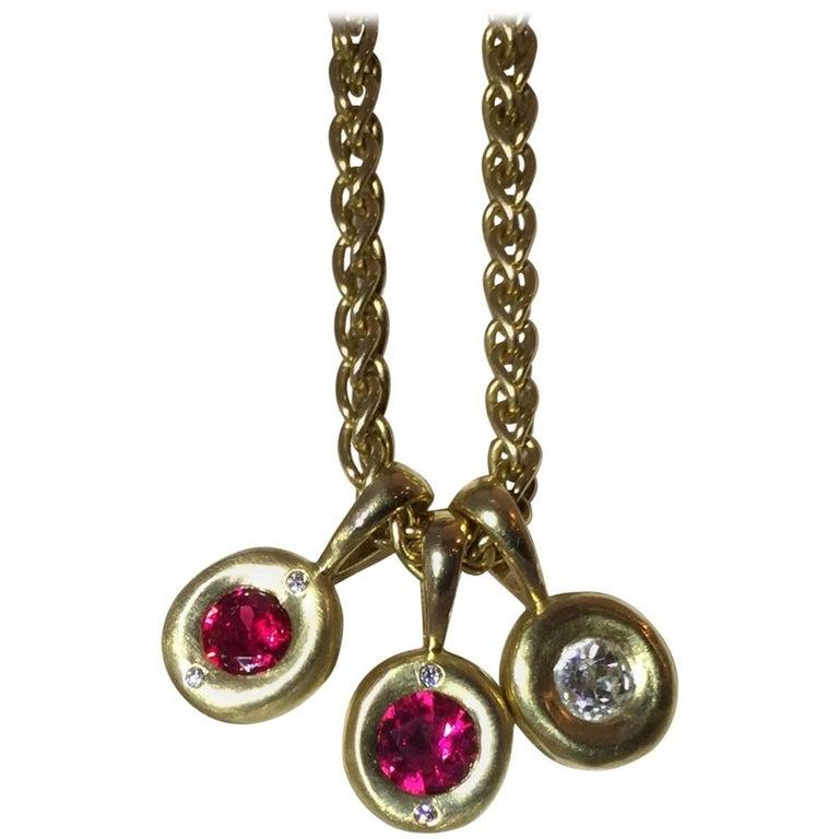 Ruby and Diamond 18 Karat Gold Pendant