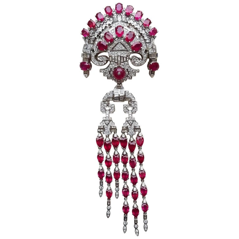 Detachable Ruby and Diamond 18 Karat Gold Clip Brooch and Pendant