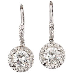 Pair of GIA Certified 2.4 Total Carat Weight Diamond Earrings
