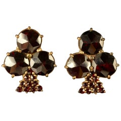 Antique Victorian Bohemian Garnet Earrings Shamrock, circa 1900