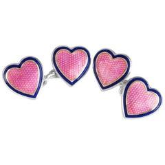 Deakin & Francis Sterling Silver Heart Cufflinks