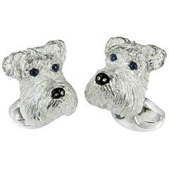 Deakin & Francis Sterling Silver Schnauzer Dog Cufflinks