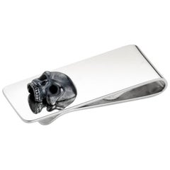 Deakin & Francis Sterling Silver Money Clip with Oxidised Skull