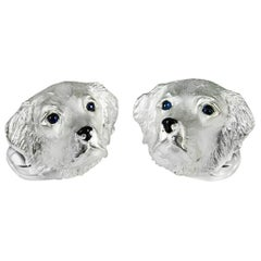 Deakin & Francis Sterling Silver Retriever Dog Cufflinks