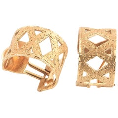 Buccellati Yellow Gold Textured Band Earrings