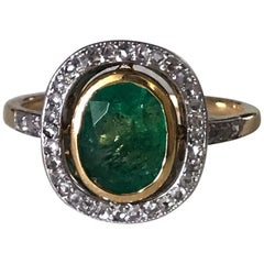 Edwardian Emerald and Rose-Cut Diamond Ring