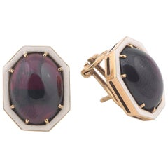 Gold and Cabochon Garnet Earrings