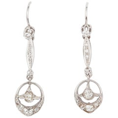 Diamond and Platinum Rose Cut Edwardian Earrings