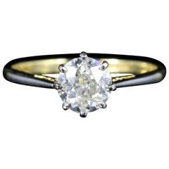 Antique Victorian Diamond Engagement Ring Solitaire 1.30 Carat, circa 1900