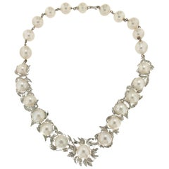 Australian Pearls 18 Karat White Gold Diamonds Choker Necklace