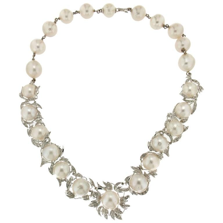 Australian Pearls Gold Diamonds Choker Necklace