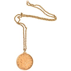 Antique Coin US Double Eagle Necklace, 1900