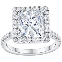 GIA Certified 4.07 Carat Princess Cut Diamond Halo Engagement Ring
