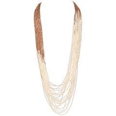 Zircon and Pearl Multi-Strand Necklace