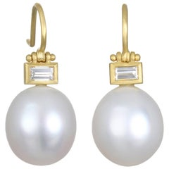 Faye Kim Gold, Diamond and South Sea Pearl Hinge Earrings