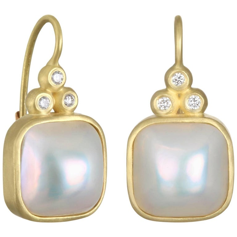 Gold Cushion Mabe Pearl and Diamond Lever Back Earrings