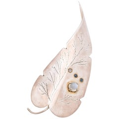 Retro Large Sterling and Moonstone Leaf Brooch