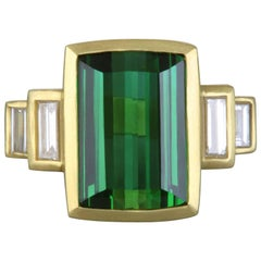 Diamond and Green Tourmaline Emerald Cut Gold Ring