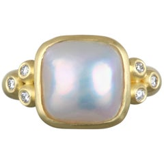 Gold Mabe Pearl and Diamond Ring
