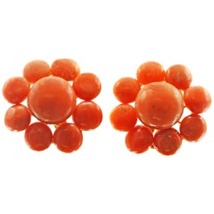 Coral 18 Karat Yellow Gold Ear Clips