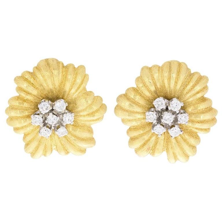 Buccellati Fleur de Fleur Diamond Gold Earrings