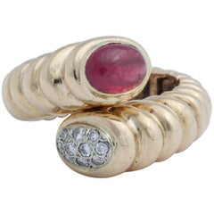 Hinged Oval Cabochon Ruby and Opposing Oval Pave Diamond Ring