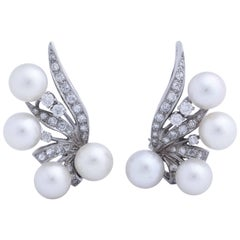 Diamond and Cultured Pearl Feather Earrings
